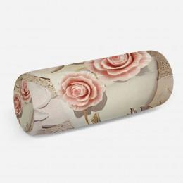 3D подушка-валик «Объемная композиция с бутонами роз»