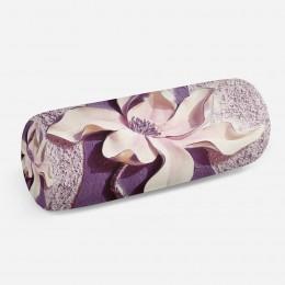 3D подушка-валик «Фиолетовые магнолии на рельефном фоне»