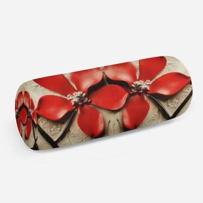 3D подушка-валик «Цветы на штукатурке»