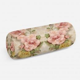 3D подушка-валик «Объемные розы под мрамор»