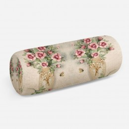 3D подушка-валик «Объемные букеты в вазах»