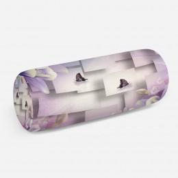 3D подушка-валик «Сиреневые цветы с бабочками»