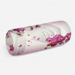 3D подушка-валик «Объемные колонны с цветами»