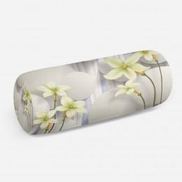3D подушка-валик «Нежно-салатовые цветы на объемном фоне»