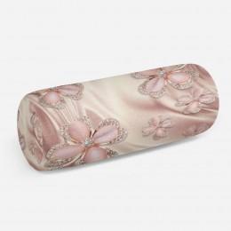 3D подушка-валик «Клевер с бриллиантами в нежно-розовых тонах»
