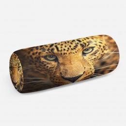 3D подушка-валик «Леопард портрет»