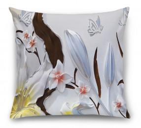 3D Подушка «Объемные цветы с бабочками»