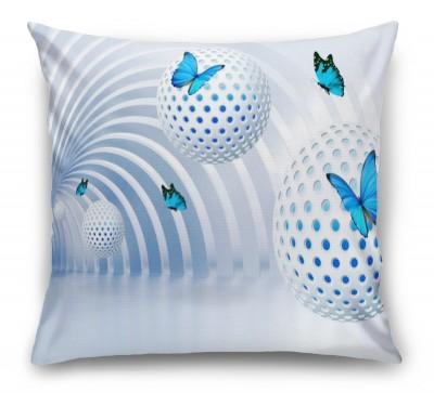 3D Подушка «Футуристичный тоннель с бабочками»