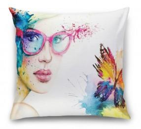 3D Подушка «Девушка с бабочкой»