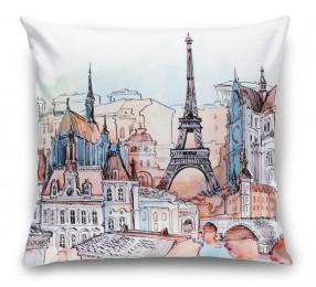 3D Подушка «Париж акварелью»