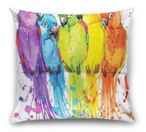 3D Подушка «Яркие попугайчики»