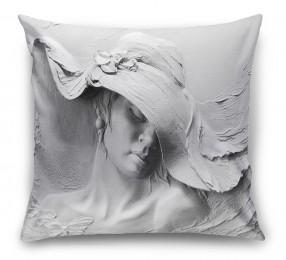 3D Подушка «Барельеф женщина в шляпе»