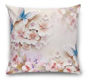 3D Подушка «Цветочное изобилие с бабочками»