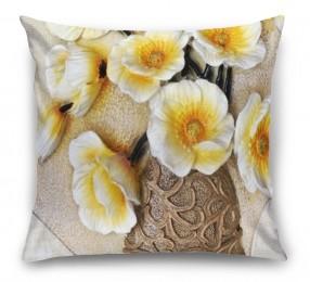 3D Подушка «Объемная ваза с белыми маками»