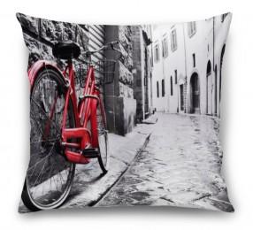 3D Подушка «Красный велосипед на черно белой улочке»
