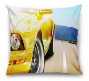 3D Подушка «Быстрая желтая машина»