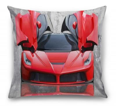 3D Подушка «Красное авто на бетонном фоне»