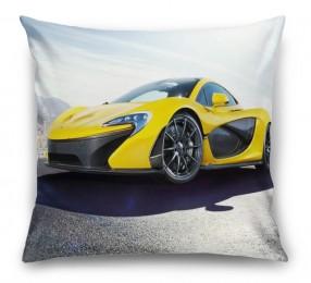 3D Подушка «Желтый спортивный автомобиль в лучах солнца»