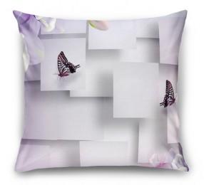 3D Подушка «Сиреневые цветы с бабочками»