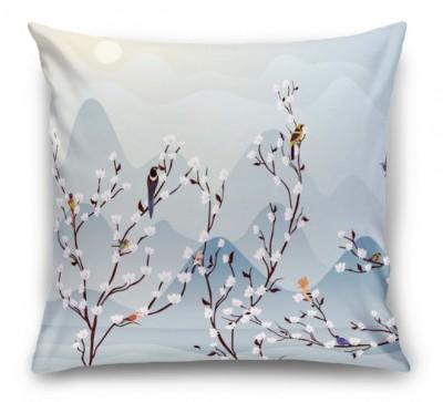 3D Подушка «Птичья стайка на цветущих ветвях»