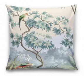 3D Подушка «Пейзаж с экзотическими птицами»