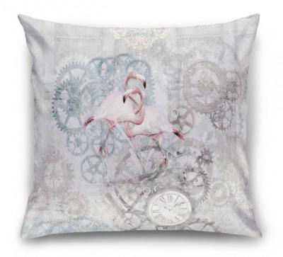 3D Подушка «Фламинго с часами»