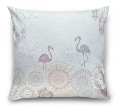 3D Подушка «Фламинго с восточными мотивами в голубых тонах»