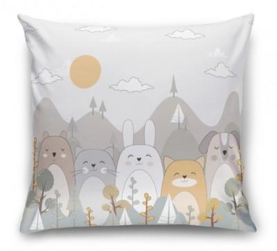 3D Подушка «Милые животные в горах»
