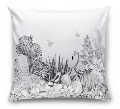 3D Подушка «Черно-белые тропики»