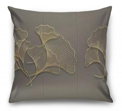 3D Подушка «Изящные золотые листья»