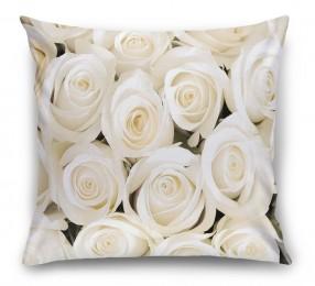 3D Подушка «Нежные белые розы»