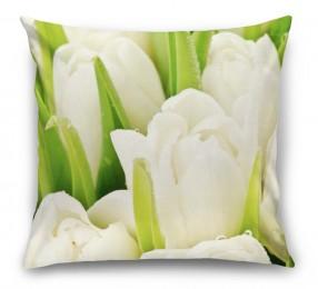 3D Подушка «Белые тюльпаны»