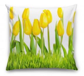 3D Подушка «Желтые тюльпаны»