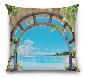 3D Подушка «Окно с видом на море»