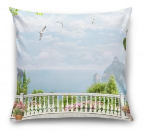 3D Подушка «Вид на залив с белого балкона»