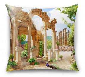 3D Подушка «Развалины в саду»