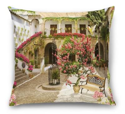 3D Подушка «Цветущий дворик отеля»