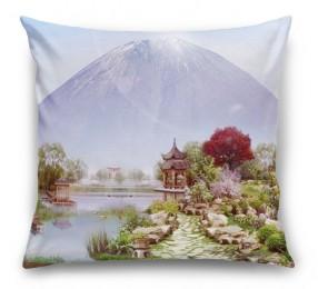 3D Подушка «Японский сад с видом на Фудзияму»