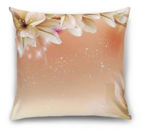 3D Подушка «Персиковая инсталляция с цветами»