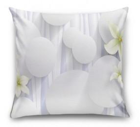 3D Подушка «Нежно-салатовые цветы на объемном фоне»
