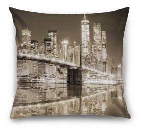 3D Подушка «Бруклинский мост сепия»