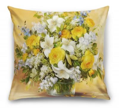 3D Подушка «Цветы картина»