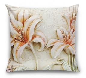 3D Подушка «Лилии под каменную фреску»