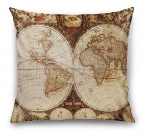 3D Подушка «Карта мира для кабинета»
