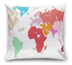 3D Подушка «Карта континентов с узорами»
