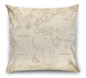 3D Подушка «Карта мира в винтажном стиле»