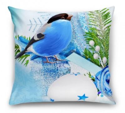 3D Подушка «Синичка цвета индиго»