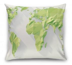 3D Подушка «Зеленые континенты из полигонов»
