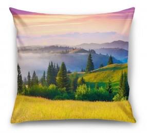 3D Подушка «Туманное утро в Карпатах»