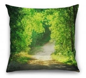3D Подушка «Тропинка в зеленом лесу»